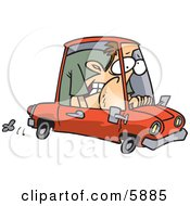 Caucasian Man Squished Into A Tiny Compact Mini Car Clipart Illustration