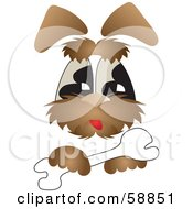 Royalty Free RF Clipart Illustration Of A Hairy Brown Dog Resting His Paw On A Bone