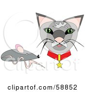 Royalty Free RF Clipart Illustration Of A Gray Mouse By A Kitty Cat Face
