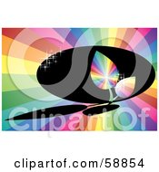 Royalty Free RF Clipart Illustration Of Sparkling Rainbow Leaves Over A Dark Shadow On A Rainbow Burst Background by kaycee