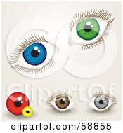 Royalty Free RF Clipart Illustration Of A Digital Collage Of Blue Green Red Yellow Brown And Gray Eyes