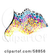 Royalty Free RF Clipart Illustration Of A Waving CMYK Dotted Flag On White Version 1