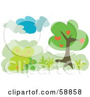 Royalty Free RF Clipart Illustration Of A Heart Fruit Tree With Shrubs Under Clouds by kaycee