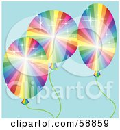 Royalty Free RF Clipart Illustration Of Three Sparkling Rainbow Balloons Over Blue