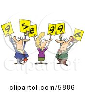 Men And Woman Judges Holding Up Number Signs Clipart Illustration