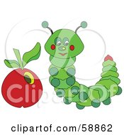 Royalty Free RF Clipart Illustration Of A Green Caterpillar By A Red Apple