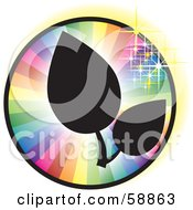 Royalty Free RF Clipart Illustration Of Black Silhouetted Leaves On A Sparkling Rainbow Circle by kaycee