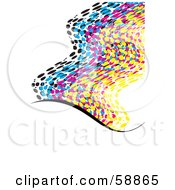 Royalty Free RF Clipart Illustration Of A Waving CMYK Dotted Flag On White Version 2