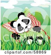 Tired Panda Sleeping In Grass