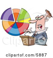Male Business Man Standing At A Podium Discussing A Pie Chart Clipart Illustration