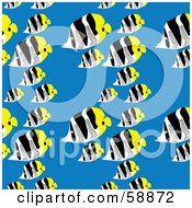 Royalty Free RF Clipart Illustration Of A Seamless Butterfly Fish Pattern On Blue by kaycee