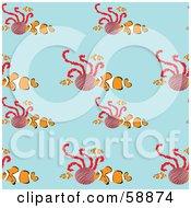 Seamless Clownfish Pattern On Blue