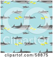 Royalty Free RF Clipart Illustration Of A Seamless Shark And Fish Pattern On Blue