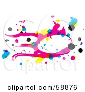 Royalty Free RF Clipart Illustration Of A Pink Yellow Blue And Black CMYK Abstract Drawing On White by kaycee