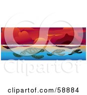 Family Of Sea Turtles Swimming In Blue Water Under A Red Ocean Sunset