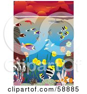 Royalty Free RF Clipart Illustration Of Colorful Marine Fish Corals And Sharks Swimming In The Ocean Under A Red Sunset