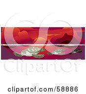 Royalty Free RF Clipart Illustration Of Three Sea Turtles Swimming In Under A Red Ocean Sunset