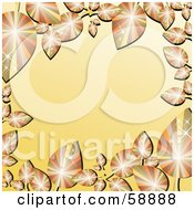 Royalty Free RF Clipart Illustration Of A Gradient Orange Border Framed In Sparkling Autumn Leaves
