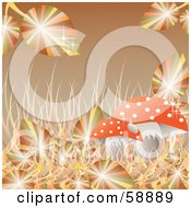 Royalty Free RF Clipart Illustration Of Sparkling Autumn Leaves And Grasses Around A Mushroom On Brown