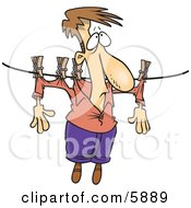 Man Hanging On A Clothes Line To Dry Clipart Illustration
