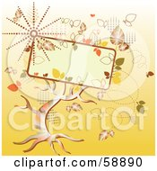 Royalty Free RF Clipart Illustration Of A Magical Autumn Tree With Fall Foliage And A Text Box