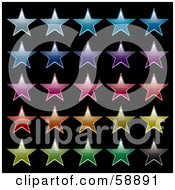Digital Collage Of Rows Of Colorful Stars Version 2 by michaeltravers