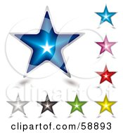 Royalty Free RF Clipart Illustration Of A Digital Collage Of Nine Colorful Shining Star Icons by michaeltravers