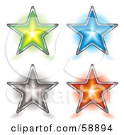 Royalty Free RF Clipart Illustration Of A Digital Collage Of Four Shining Colorful Star Buttons by michaeltravers