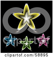 Royalty Free RF Clipart Illustration Of A Digital Collage Of Four Colorful Floral Stars Version 2 by michaeltravers