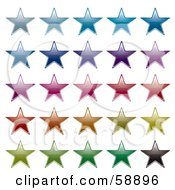 Digital Collage Of Rows Of Colorful Stars Version 1 by michaeltravers