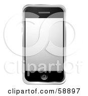 Royalty Free RF Clipart Illustration Of A Modern Cellular Phone With A Silver Screen by michaeltravers