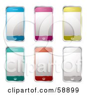 Royalty Free RF Clipart Illustration Of A Digital Collage Of Blue Pink Yellow Green Orange And Silver Modern Cell Phones by michaeltravers