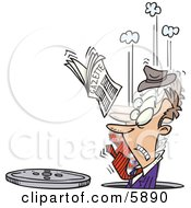 Man In A Manhole His Newspaper In The Air Clipart Illustration by toonaday