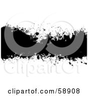 Royalty Free RF Clipart Illustration Of A Black Ink Splatter Text Box Spanning A White Background
