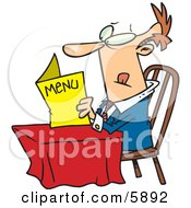 Caucasian Man Sitting At A Table And Reading A Menu At A Restaurant Clipart Illustration by toonaday