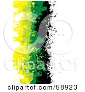 Royalty Free RF Clipart Illustration Of A Vertical Background Of Black Green And Yellow Grunge Splatters Against White by michaeltravers
