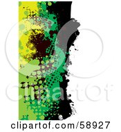 Royalty Free RF Clipart Illustration Of A Vertical Background Of Yellow Green And Black Grunge Splatters Against White by michaeltravers