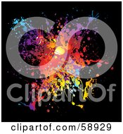 Royalty Free RF Clipart Illustration Of A Vibrant Splatter Of Colors On Black by michaeltravers