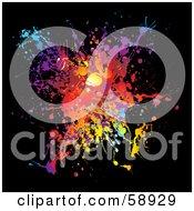 Vibrant Splatter Of Colors On Black by michaeltravers