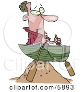Man In A Boat On A Sandy Hill Left High And Dry Clipart Illustration