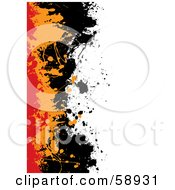 Royalty Free RF Clipart Illustration Of A Background With Red Orange And Black Splatters Against White by michaeltravers