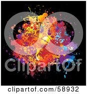 Royalty Free RF Clipart Illustration Of A Splattered Blot Of Colors On Black by michaeltravers
