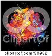 Splattered Blot Of Colors On Black by michaeltravers