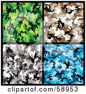 Royalty Free RF Clipart Illustration Of A Digital Collage Of Green Blue Gray And Brown Camouflage Backgrounds by michaeltravers