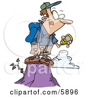 Hiker Man On Top Of A Mountain Using A GPS Clipart Illustration by toonaday