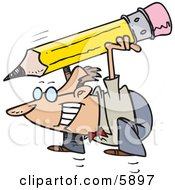Business Man Jumping With A Giant Pencil Clipart Illustration