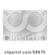 Royalty Free RF Clipart Illustration Of A Brushed Chrome Metal Plaque With Screws In The Rounded Corners by michaeltravers