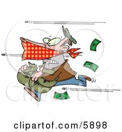 Bank Robber Running With Money Bullets Being Shot At Him Clipart Illustration by Ron Leishman