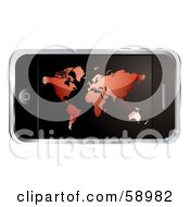 Royalty Free RF Clipart Illustration Of A Modern Cellular Phone With A Red Atlas Screen by michaeltravers