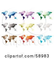 Royalty Free RF Clipart Illustration Of A Digital Collage Of Nine Colorful World Maps On White